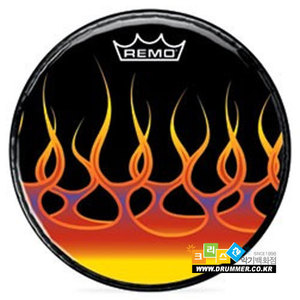 [드럼코리아 1599-3867] REMO - Graphic Spreading Flames 프론트 헤드(PA-1022-F2)